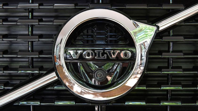 A Volvo XC 90 car is seen during an interview with CEO Hakan Samuelsson at the Volvo Cars Showroom in Stockholm